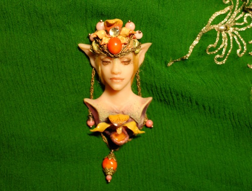 Brooch Elf handmade molding with coral and silver