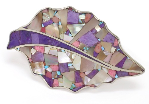Brooch Leaf of charoite inlaid with natural stones - charoite, rhodonite and pink coral, mother-of-pearl of three species. Metal rim Nickel Silver