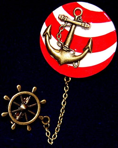 Jeweler Yulia Abrosimova. Brooch Ship's wheel and Anchor