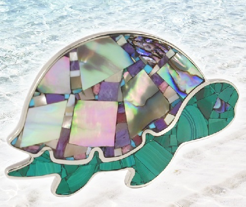 Brooch Turtle, handmade, Turquoise, charoite, rhodonite, mother of pearl, Nickel silver. Alena Ariel Mosaic, Russia