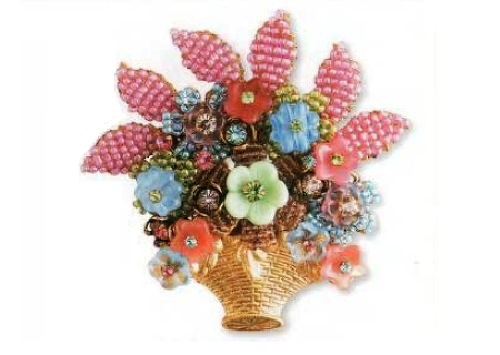 Brooch in the form of a vase of flowers, metal, gold plated, colored glass. 1980s. £ 120-150 CRIS