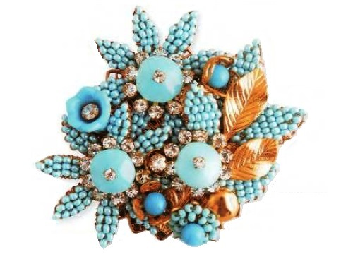 Brooch - metal, rock crystal, glass, turquoise, imitation pearls. The end of the 1960s
