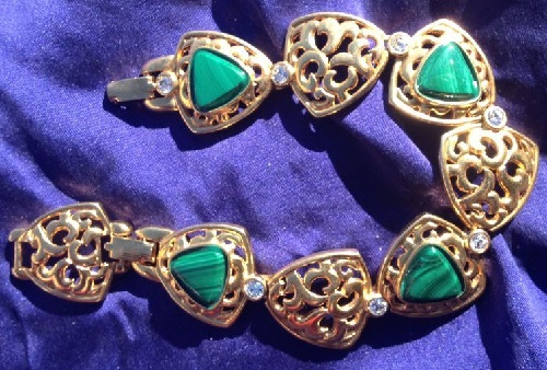 Camrose & Kross vintage bracelet, gilded with malachite accents
