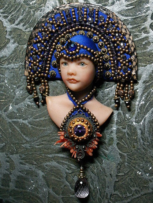 Cornflower princess. Brooch handmade the only copy. embroidered with copper beads, Swarovski crystals, pendant - amethyst