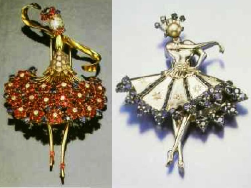 Dancer brooch of gold with diamonds, rubies and sapphires. By John Rubel °. 1945. New York (left), ballerina brooch palladium with sapphires and diamonds. 1945