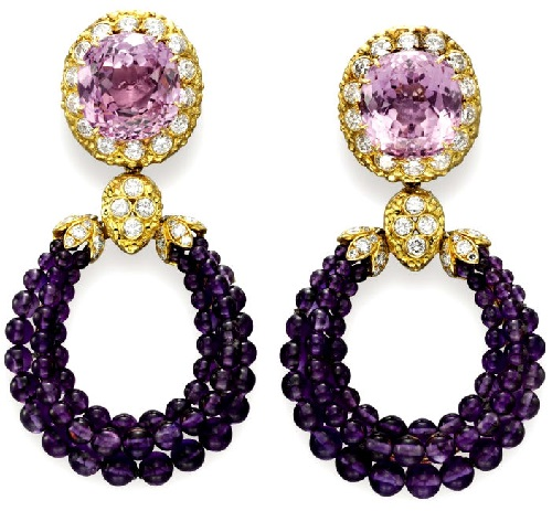 Earrings with amethysts and diamonds. Elizabeth Taylor jewellery