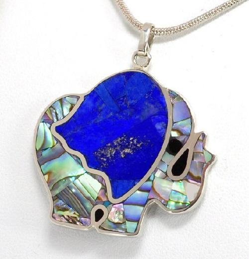 Elephant pendant encrusted with natural stones. Ariel Mosaic jewellery