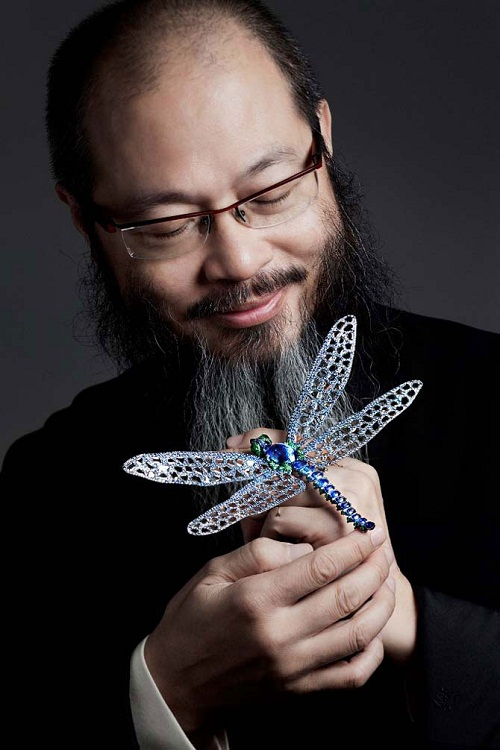 Famous jeweler Wallace Chan with his dragonfly brooch