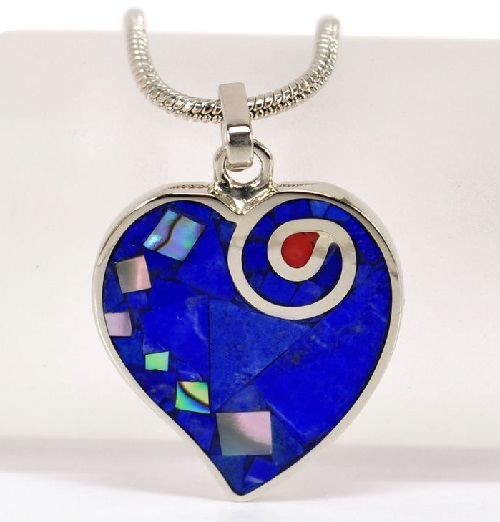 Heart pendant. Mosaic inlay of natural gem-quality stones - Lapis Lazuli, natural colored pearl, red coral. Metal frames - nickel silver jewellery alloy