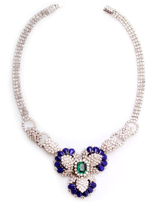 Hobe Vintage necklace with multi-level bulk crystals and blue and green accents