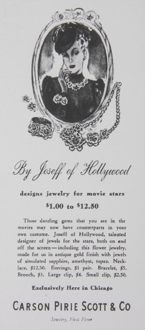 In 1937 he designed a line of jewelry for sale, priced at about $ 1 to $ 12 per decoration, a very high price for that time! The line was quickly sold through Nordstrom, Neiman Marcus, Bullock's, Macy's, Saks.