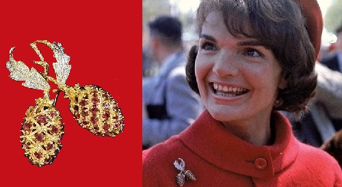 Jacqueline Kennedy wearing Camrose & Kross brooch