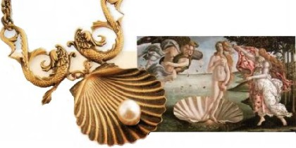 The motif of classical mythology – shell, as in the canvas of Botticelli 'Birth of Venus' (1485), a feature of some jewelry Joseph created for films on biblical subjects