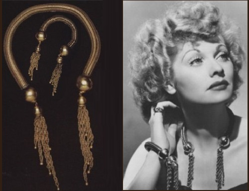 Lucille Ball in a necklace and bracelet by Joseff of Hollywood. The company provided most of the decorations shown in I Love Lucy, it even had an episode dedicated to jewelry