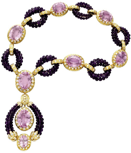 Necklace with amethysts and diamonds. Elizabeth Taylor jewellery