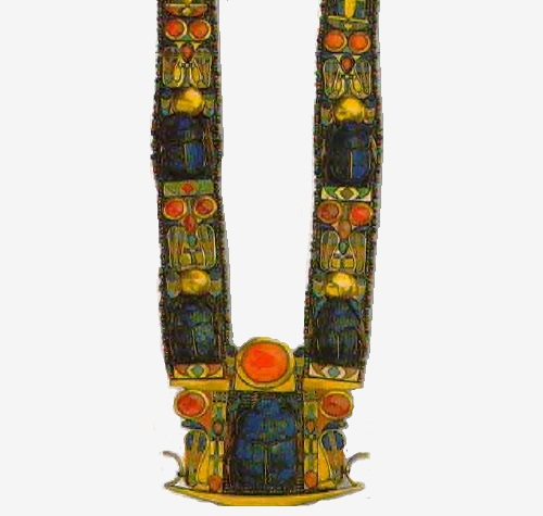 Necklace from the tomb of Tutankhamun depicting the sacred scarab beetle, the hieroglyphic sign of the sun god Ra. XVIII dynasty