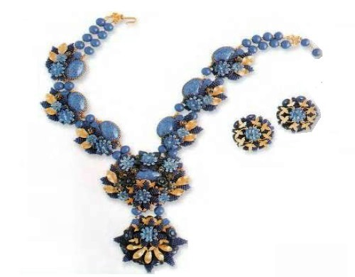 Necklace with pendants and earrings. metal, gilding, faux lapis lazuli, a blue glass. 1980s