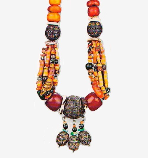Necklace. Morocco. The beginning of XX century. Coral, amber, shells, glass, amazonite, silver
