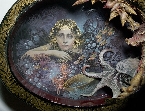 Neptune's kingdom - shell-box. author box with mother of pearl. Hand-painted with egg tempera. hand modeling