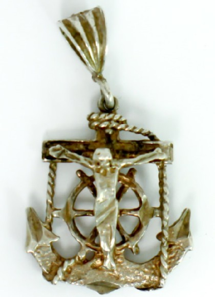 Pendant Featuring Jesus on a Cross in a Marine Motif, with Anchor and Ship's Wheel