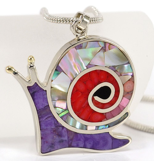 Pendant Snail, natural stones of gem quality - charoite, rhodonite, red and pink coral, mother of pearl, pearl