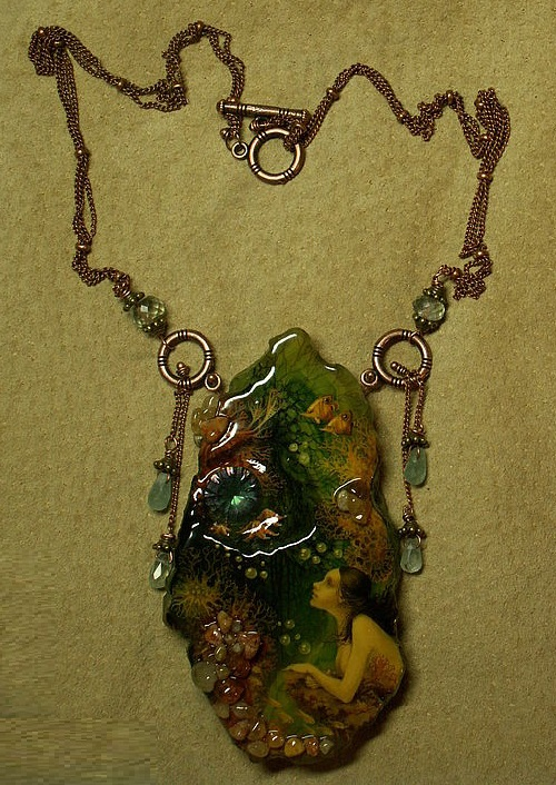 Pendant 'Star of the Ocean'. Hand-painted on Agate with insert mystic -topaz. pendants - aquamarine. the only copy