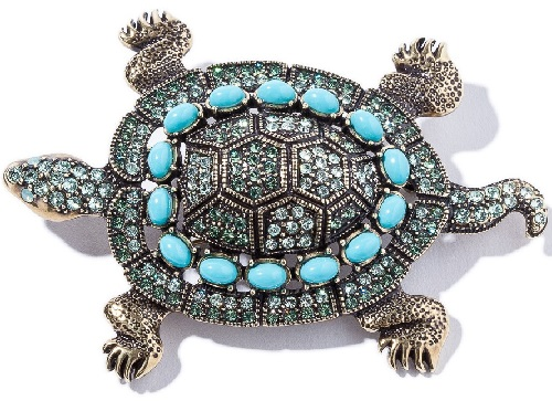 Turtle Crystal Accented Pin. Heidi Daus jewellery