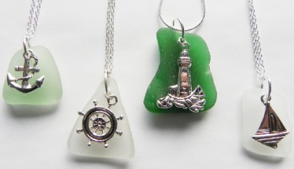 nautical anchor, sailboat, lighthouse, and ship's wheel. Elizabeth Mason sea glass jewelry EJM Designs, US