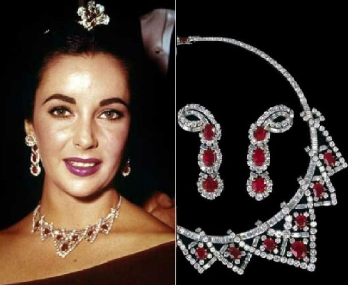 Set of jewellery with rubies and diamonds from Cartier - a gift of Mike Todd, made in August 1957