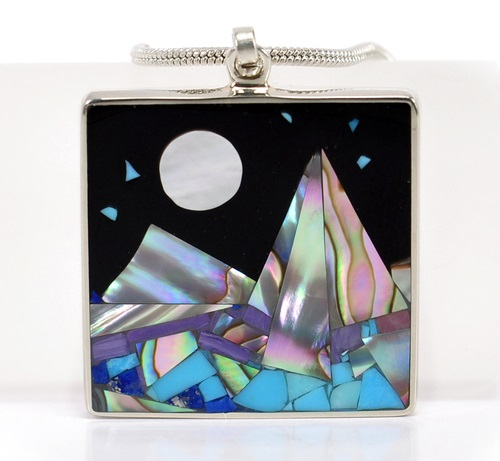 Square pendant 'Mountain Landscape' encrusted with natural stones of gem quality. Mountains - pearl, turquoise, lapis lazuli, charoite. Luna - pearl, Stars - turquoise