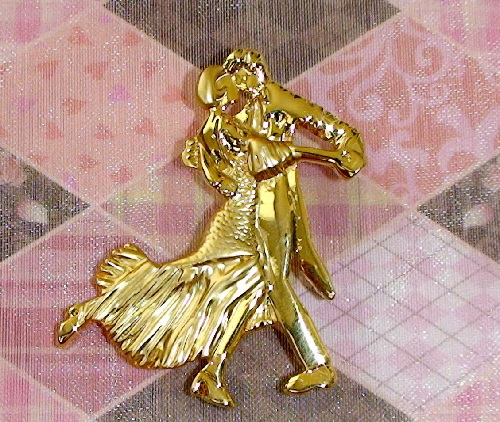 Vintage Brooch Tango, US costume jewellery