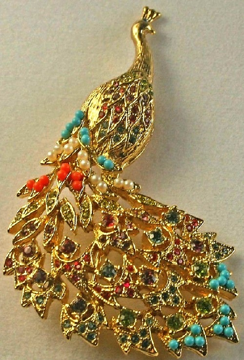 Vintage D'Orlan Gold Plated Multicolored Bead Peacock Bird Brooch