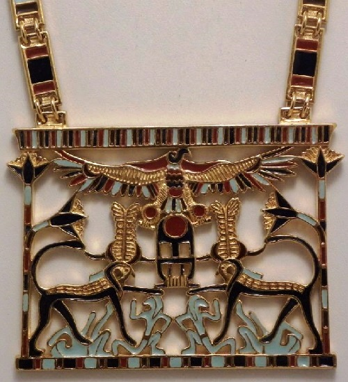 Vintage D'orlan Gold Plated Pharaoh Egyptian necklace