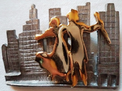 Vintage Signed Ultra craft Silver-Gold pewter Couple ou on the Town