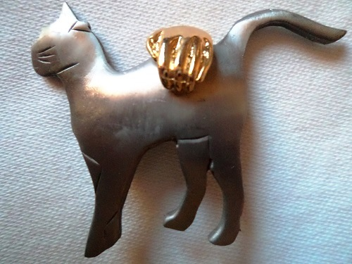 Vintage Signed Ultra craft Silver pewter Cat