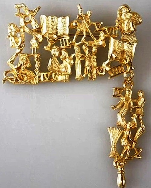 Vintage Ultra craft The Ten Commandments biblical articulated gold tone brooch pin