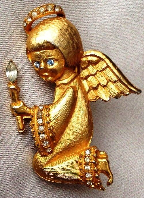 Vintage brooch Angel with a candle by Ultra craft