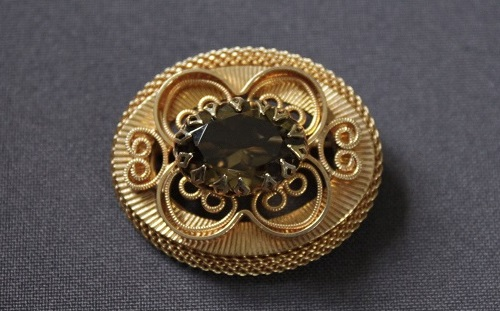 Vintage brooch Hobe with smoky quartz. Beginning 1980