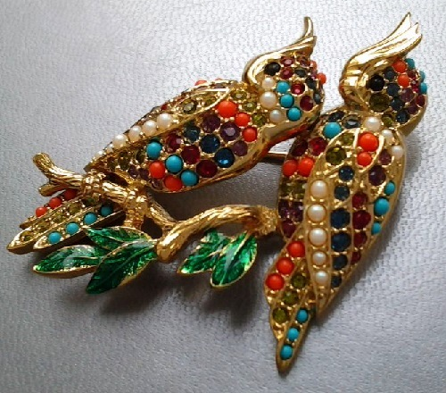 Vintage brooch 'Royal parrot' by D'Orlan