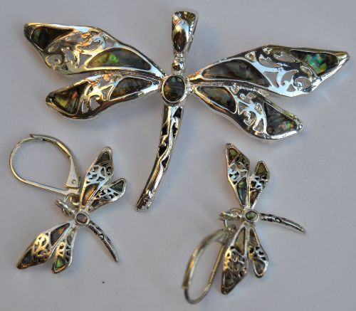 Vintage set of Dragonfly earrings and pendant