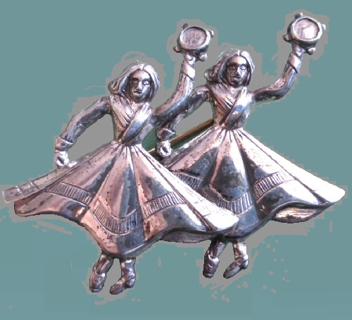 1950s vintage brooch - Dancing Gypsy women