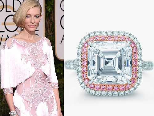 2016 Golden Globe Awards jewellery. Cate Blanchett in Tiffany & Co