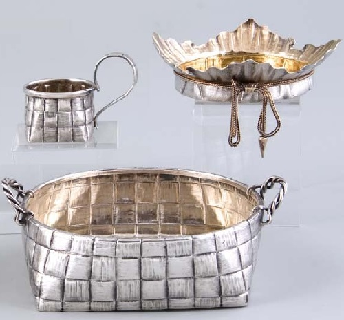 A silver trompe L' oeil cup with handle, a basket and a parcel-gilt cover. Stamped with city hallmark, St. Petersburg, 19 century