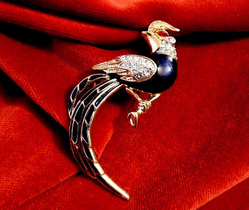 Bird of paradise, vintage brooch by Jomaz