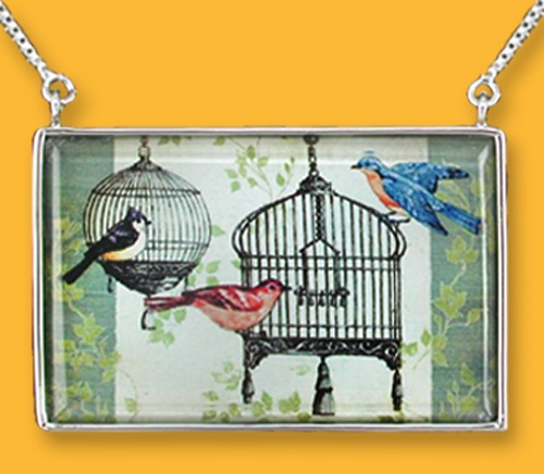 Birds and cages pendant