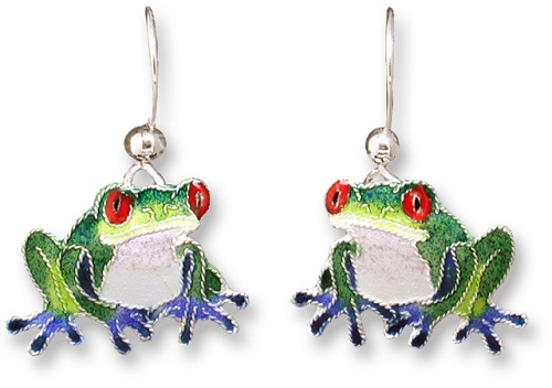 Blue-Toed Frog Earrings by Marilyn Grame
