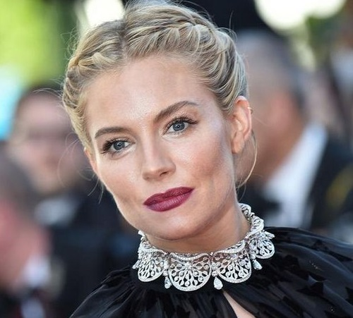 British-American actress and model Sienna Miller in Bulgari necklace at the International Film Festival in Cannes in 2015