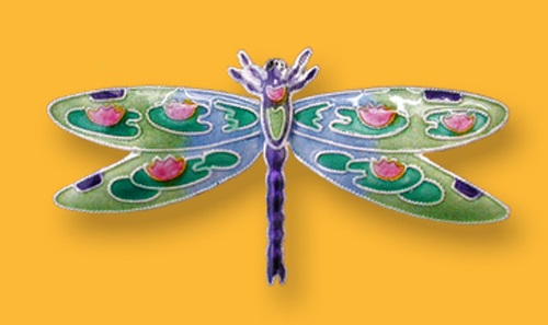 Brooch Dragonfly. Silver enameled jewellery by Zarah Co
