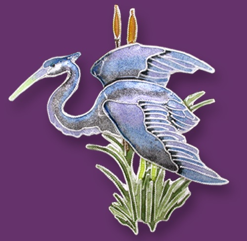 Brooch Heron. Silver enameled jewellery by Zarah Co