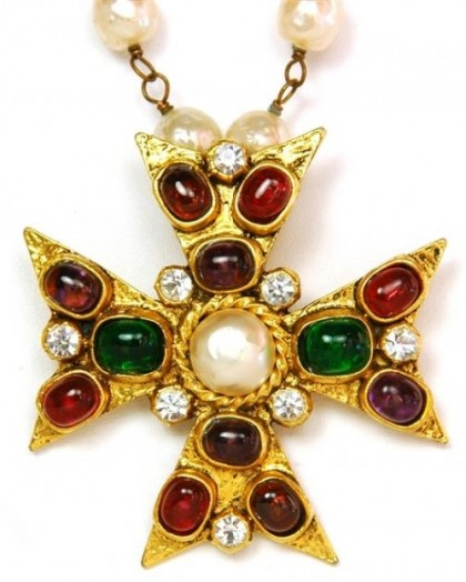 Cross of Byzantine style, vintage brooch-pendant. Coco Chanel jewellery
